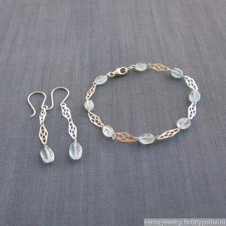 """Комплект """"Cool bluе"""" из серебра и голубого топаза ручной работы на заказ"""