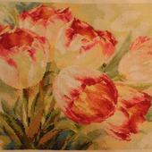 """Картина вышитая """"Акварельные тюльпаны"""""""