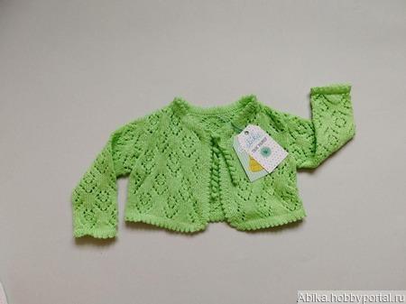 Зеленая ажурная кофта ручной работы на заказ