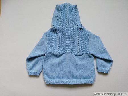 Голубой жакет с капюшоном ручной работы на заказ