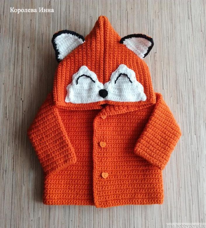 детский вязаный кардиган кофта лисичка купить в интернет