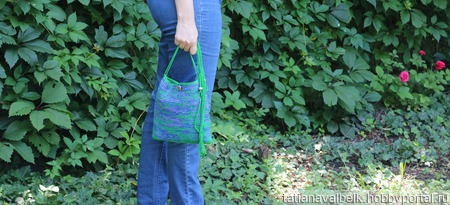 """Вязаная сумка-карман сумочка """"Болото планеты Нептун"""" ручной работы на заказ"""