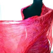 Шелковый шарф розовый с красным