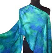 Шарф зелено-голубой из натурального шелка
