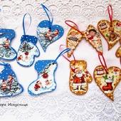Новогодние деревянные игрушки Дед Мороз, лошадка, мишка Декупаж