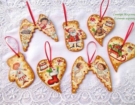 Новогодние деревянные игрушки Дед Мороз, лошадка, мишка Декупаж ручной работы на заказ