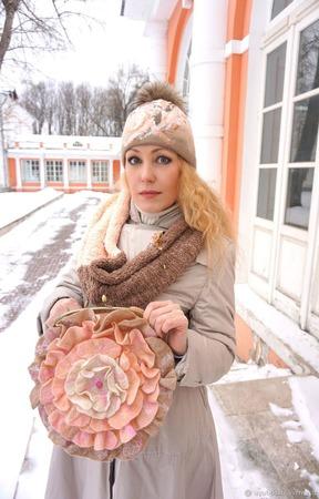 "Сумка-Роза ""Розовый Зефир"" валяная ручной работы на заказ"