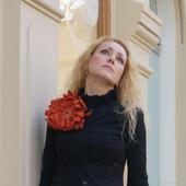 """Брошь цветок Хризантема """"Рыжая Осень"""""""