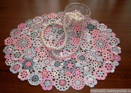"Комплект салфеток ""Розовый туман"" ручной работы на заказ"