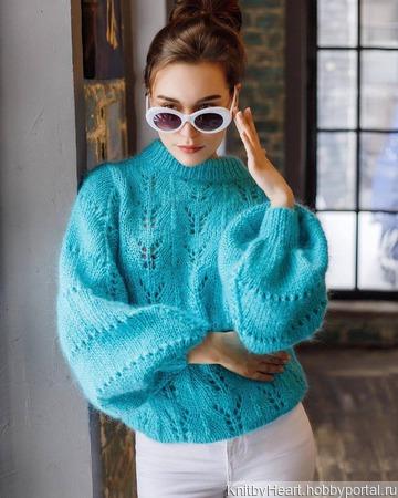 Модный свитер из мохера ручной работы на заказ