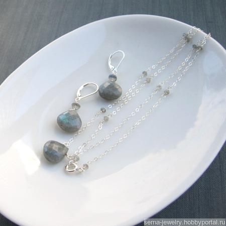 """Колье """"Breathtaking"""" в серебре с лабрадорами ручной работы на заказ"""