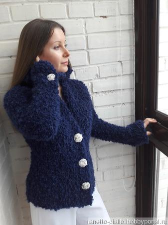 Жакет синий букле ручной работы на заказ