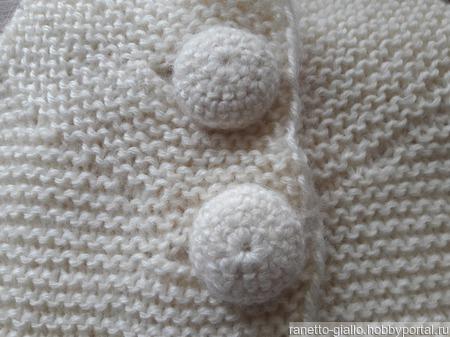 Жакет белый с вязаными пуговицами ручной работы на заказ