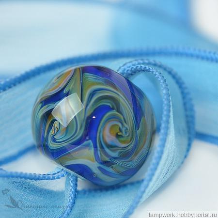"Кулон для Пандоры ""Синий шар"" ручной работы на заказ"