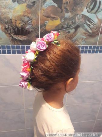 Лента в косу, розы ручной работы на заказ