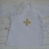 Крестильная рубашка из хлопка с кружевом и вышивкой