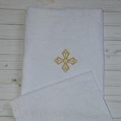 Комплект махровых крестильных полотенец с вышивкой