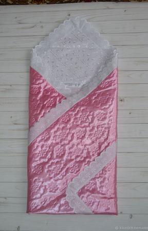 Атласное одеяло на выписку ручной работы на заказ