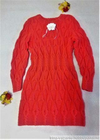 Платье вязаное для девочки 6-8 лет ручной работы на заказ
