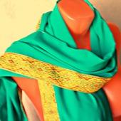 """Зеленый палантин ручной работы из ткани """"Атлантида"""""""