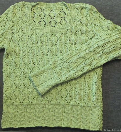 """Перламутровый пуловер """"Весенний"""" ручной работы на заказ"""