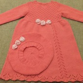 Нарядное платье и беретик для девочки из 100% мериноса