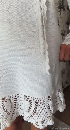 """Белое платье из 100% хлопка с узором """"Ананас"""" ручной работы на заказ"""