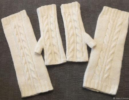 Комплект аксессуаров из 100% шерсти кауни гетры и митенки ручной работы на заказ