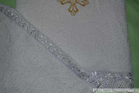 Комплект махровых крестильных полотенец с вышивкой ручной работы на заказ