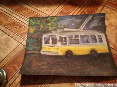 """Картина """"Троллейбус"""" ручной работы на заказ"""