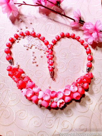 """Колье """"Розовые бутоны"""" из полимерной глины ручной работы на заказ"""