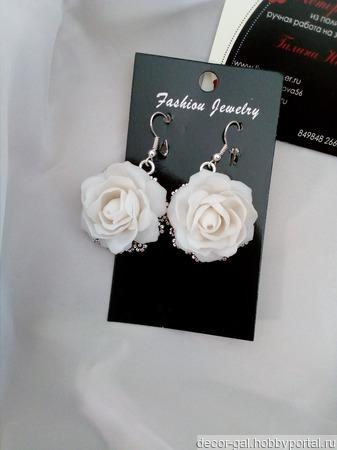 """Серьги """"Белые розы"""" ручной работы на заказ"""