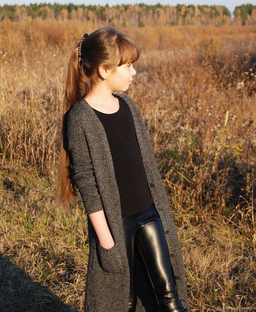 Кардиган кашемировый меланж вязаный для девочки ручной работы на заказ