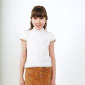 Джемпер белый с коротким рукавом вязаный для девочки