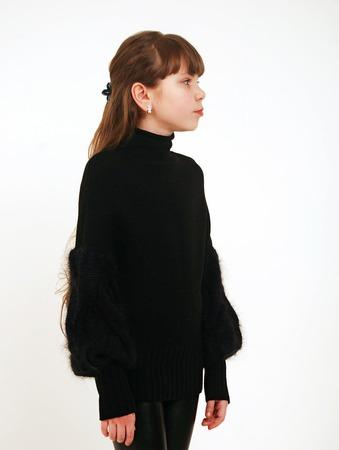 Черный пуловер из мериноса, шелка и кид-мохера для девочки ручной работы на заказ