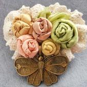 """Текстильная брошь в стиле бохо """"Прованские цветы"""""""