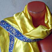 """Желтый палантин ручной работы из ткани """"Лимонный мусс"""""""