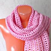"""Розовый вязаный крючком шерстяной палантин ручной работы """"Розовая жемчужина"""" модель 2"""
