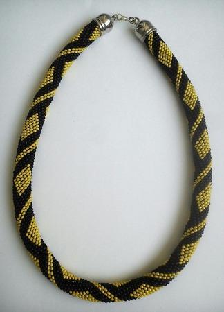 Жгут из бисера Черно-Желтый ручной работы на заказ