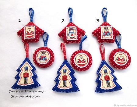 Набор 3 шт. елочных игрушек из фетра ручной работы на заказ