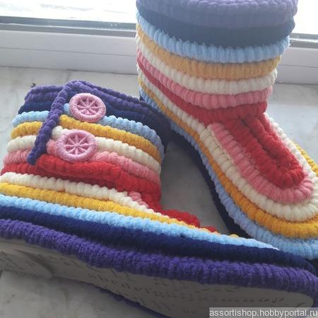 Домашние плюшевые сапожки ручной работы на заказ