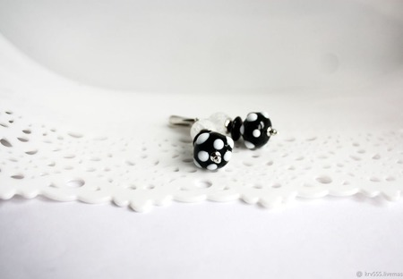 Серьги в горошек черно-белые ручной работы на заказ