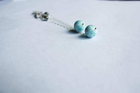 Серьги длинные с цепочками голубые ручной работы на заказ