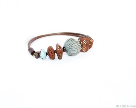 Колье-чокер  на кожаном шнуре с керамикой,бусы,коричнево голубой ручной работы на заказ