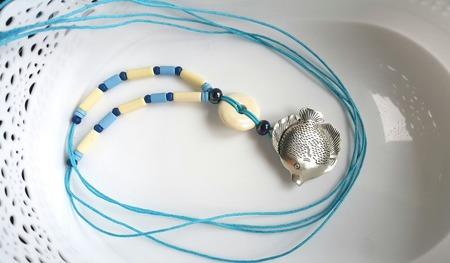 Колье длинное на вощеном шнуре с керамикой ручной работы на заказ