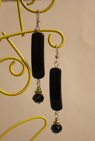 Комплект колье и серьги с черным агатом ручной работы на заказ