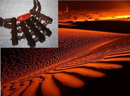 """Колье чокер на кожаном шнуре """"Закат в пустыне"""" ручной работы на заказ"""