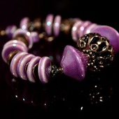 """Комплект браслет и серьги """"Сиреневый туман"""" из керамики"""