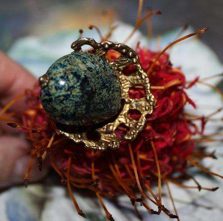 """Кольцо """"Морские водоросли"""" ручной работы на заказ"""