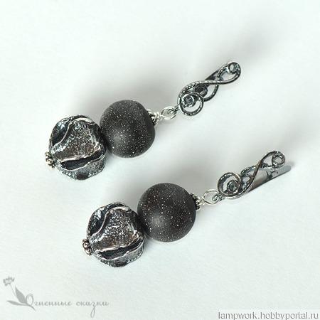 Серьги чёрное с серебром ручной работы на заказ